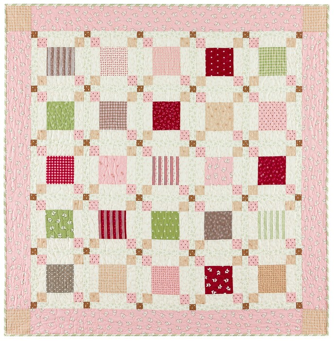 Park Lane at Christmas Pink Border Quilt Kit