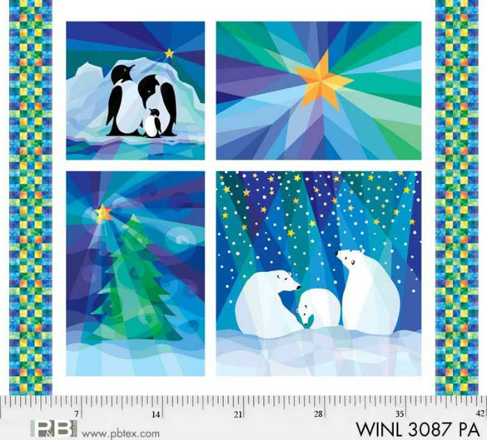 P & B Textiles Winter Lights 3087 PA 42 inch panel Snowfall Multi