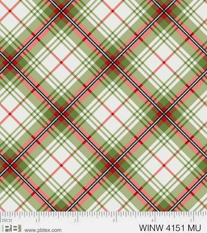 P & B Textiles Multi Diagonal Plaid Metallic WINW 4151 MU