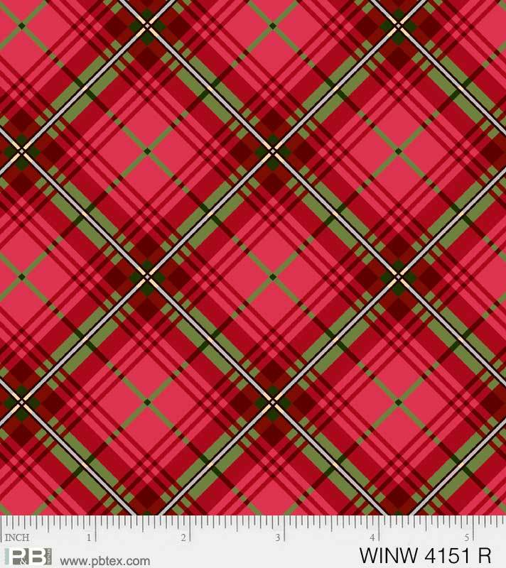 P & B Textiles Red Diagonal Plaid Metallic WINW 4151 R