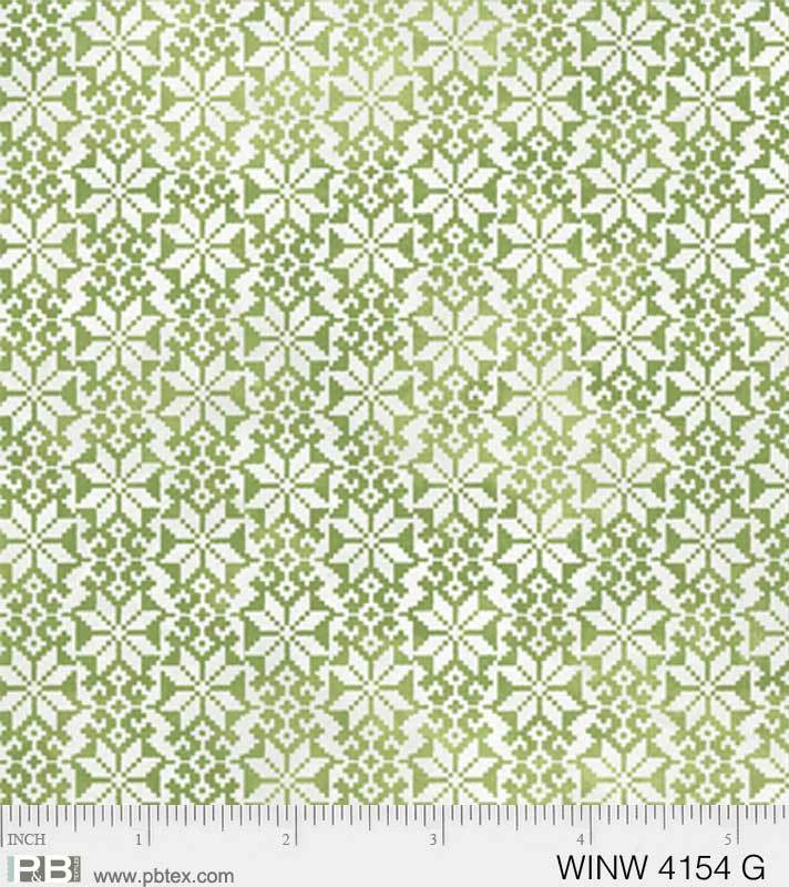 P & B Textiles Green Winter Texture Metallic WINW 4154 G