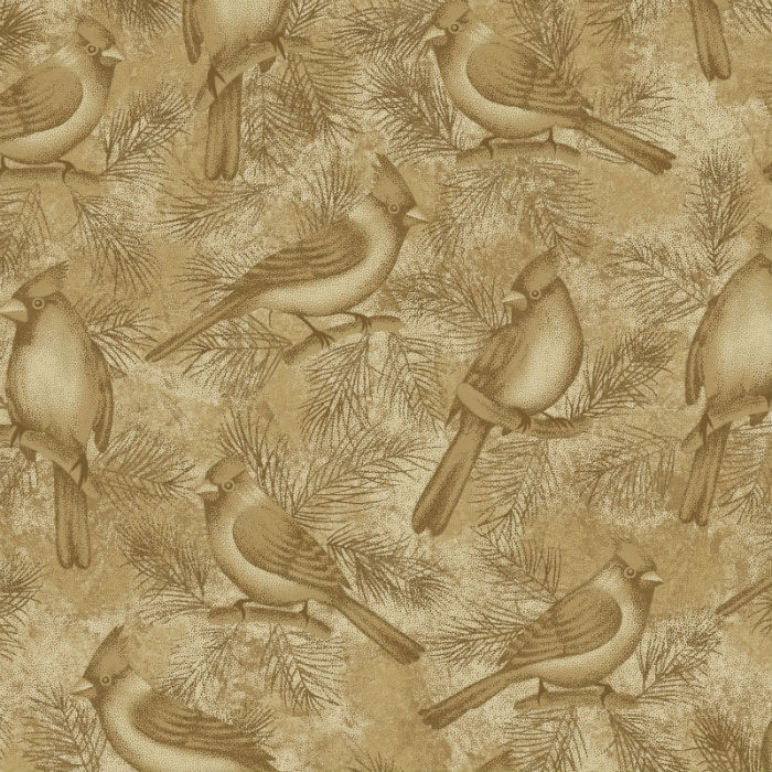 Benartex Winterberry Wintersong Bird Caramel 2861-73