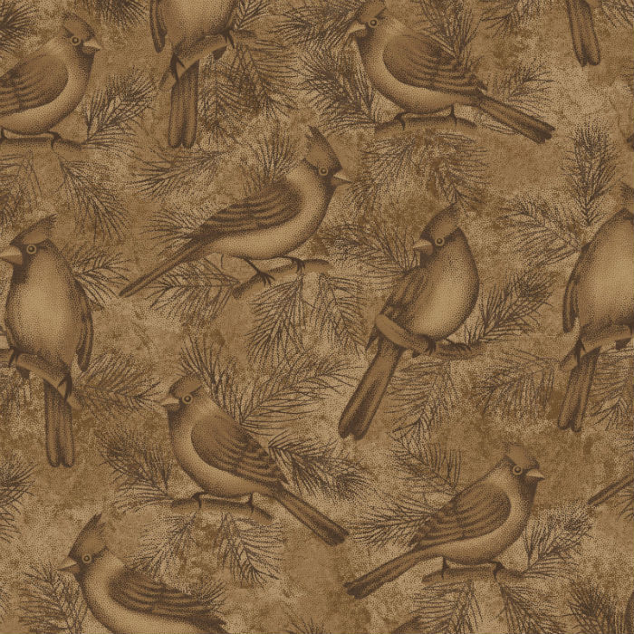 Benartex Winterberry Wintersong Bird Brown 2861-77