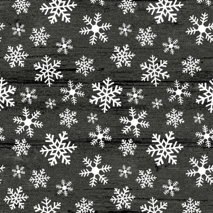 Benartex Rustic Village Christmas Wood Flake Gunmetal 6884-14