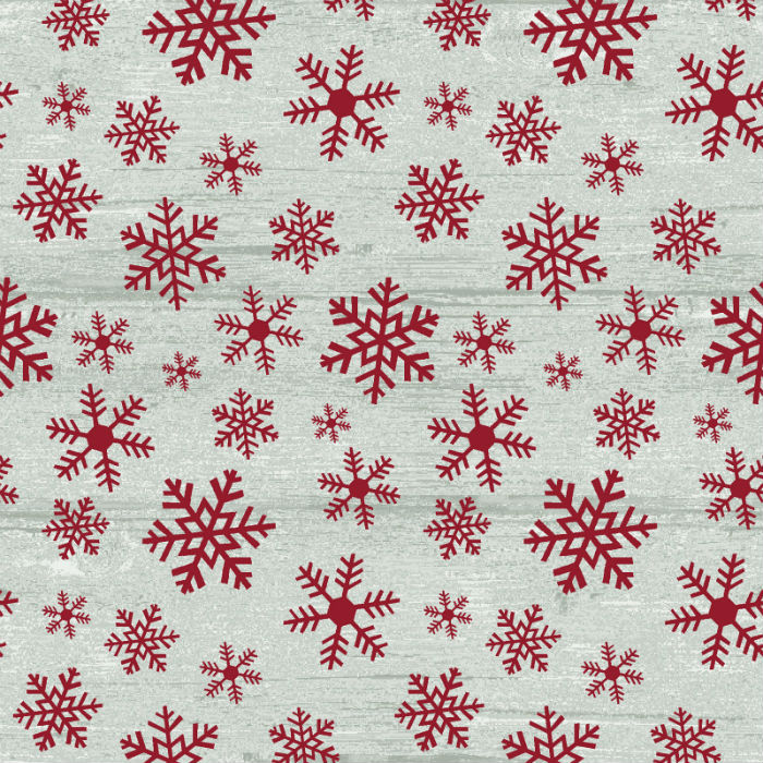 Benartex Rustic Village Christmas Wood Flake Stone/Red 6884-16