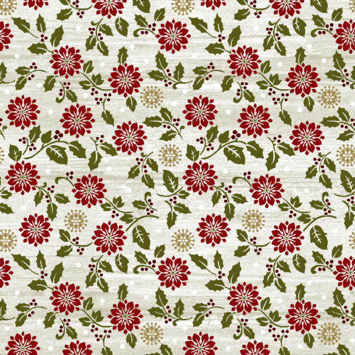 Benartex Rustic Village Christmas Rustic Poinsettia White Wash 6889-75