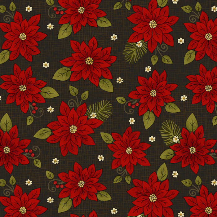 Benartex Winterberry Poinsettia Black 9642-12