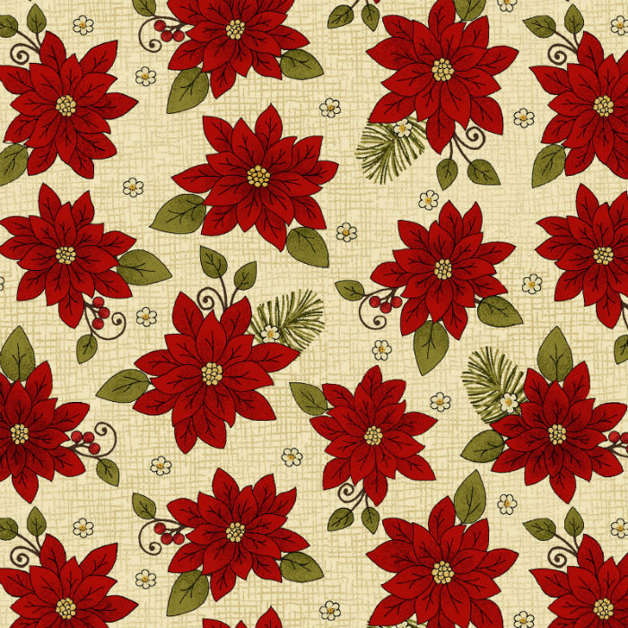 Benartex Winterberry Poinsettia Parchment 9642-70
