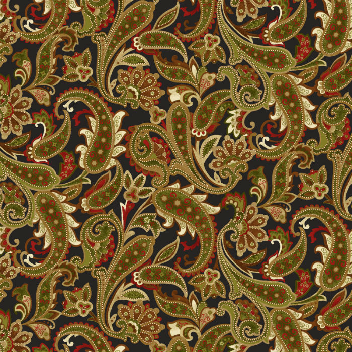 Benartex Winterberry Paisley Black/Multi 9643-12