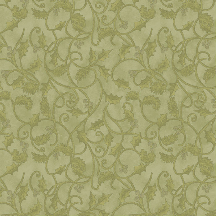 Benartex Winterberry Scroll Medium Green 9645-43