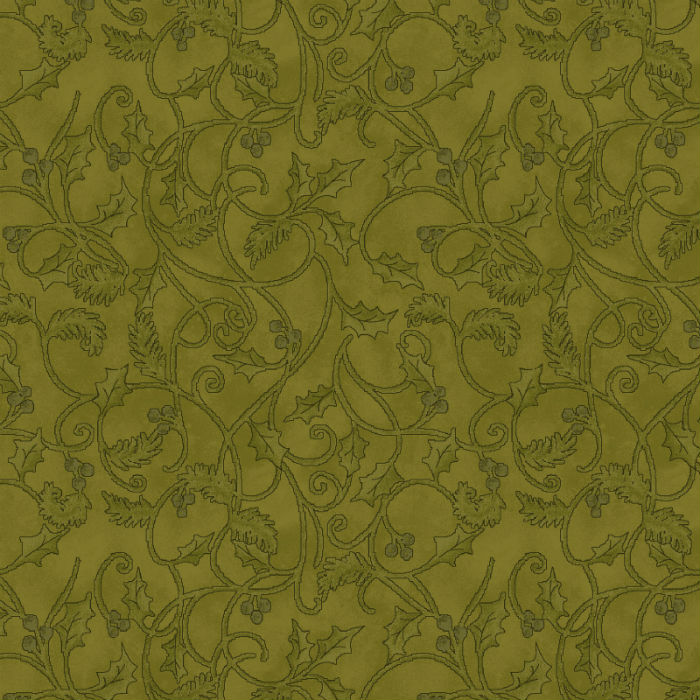 Benartex Winterberry Scroll Green 9645-44