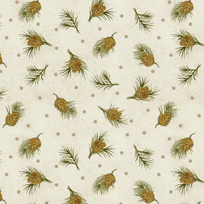 Benartex Winterberry Dotted Pine Cream 9646-07