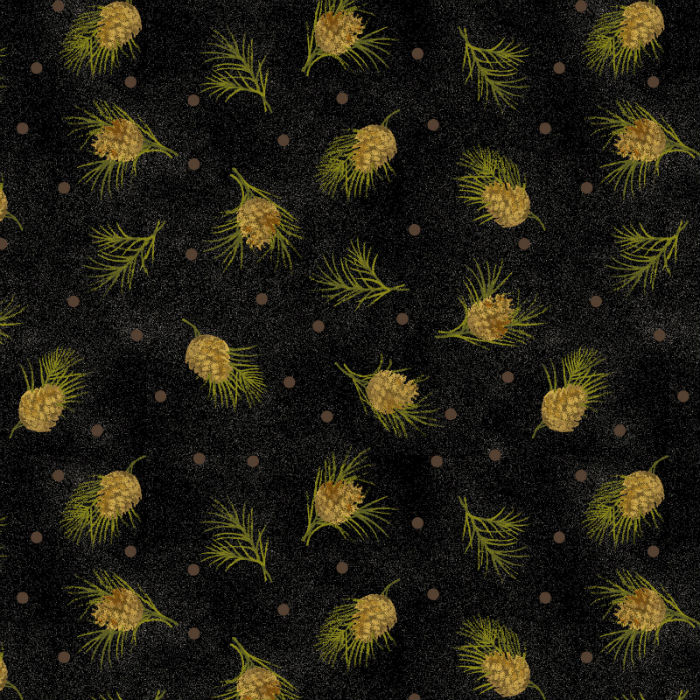 Benartex Winterberry Dotted Pine Black 9646-12