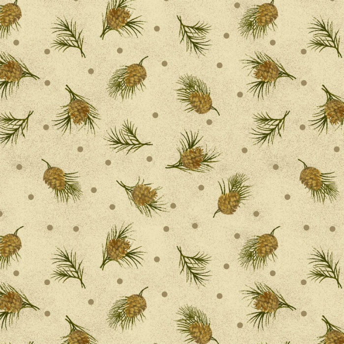 Benartex Winterberry Dotted Pine Parchment 9646-70