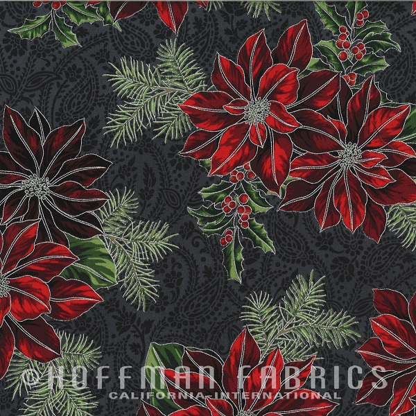 Hoffman Good Tidings Metallic Poinsettias/Holly N7517-55S Charcoal/Silver