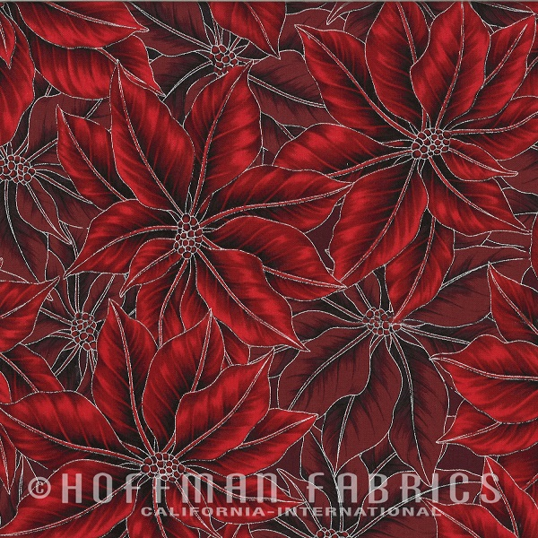 Hoffman Warm Wishes Metallic Packed Poinsettias N7524-5S