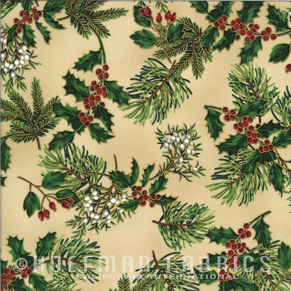Hoffman Warm Wishes Metallic Pine Boughs/Holly N7526-33G