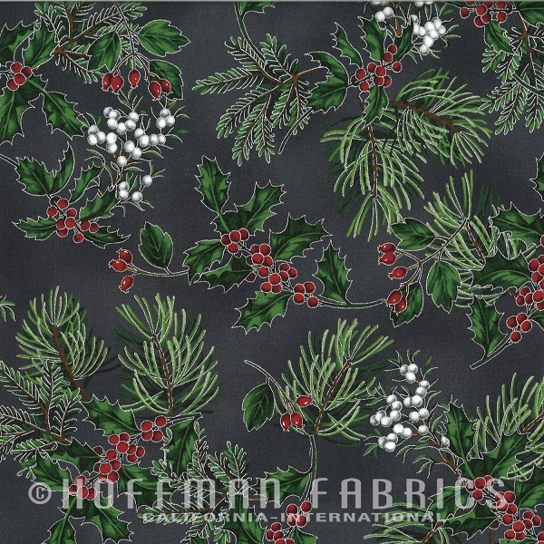 Hoffman Warm Wishes Metallic Pine Boughs/Holly N7526-55S