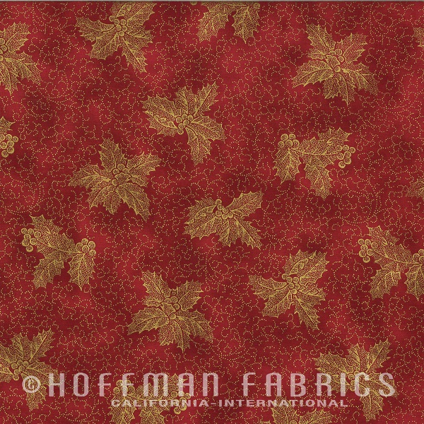 Hoffman Warm Wishes Metallic Holly/Scroll N7527-78G