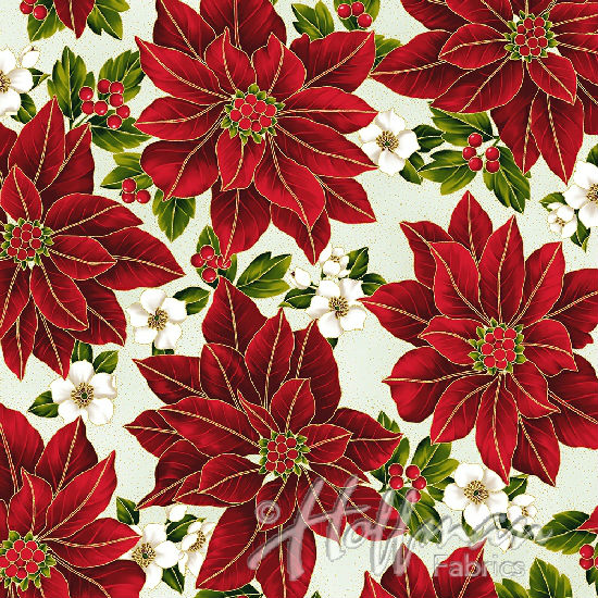Hoffman Poinsettia Song Q7635-22G Ivory/Gold