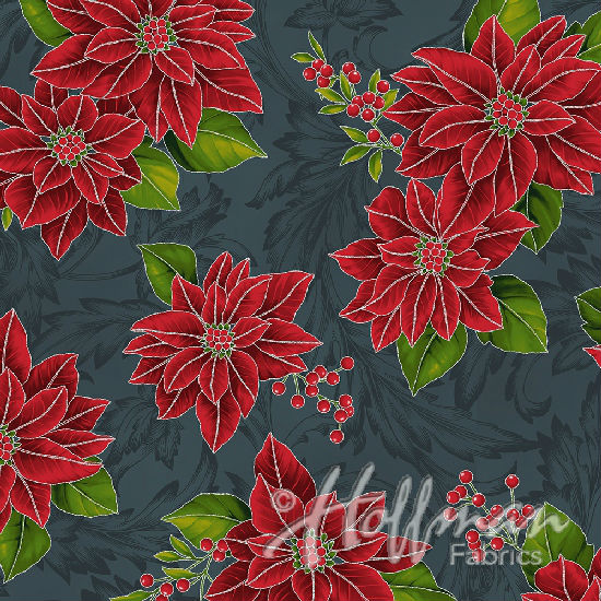 Hoffman Poinsettia Song Q7636-55S Charcoal/Silver