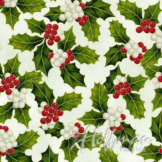Hoffman Poinsettia Song Q7638-22G Ivory/Gold