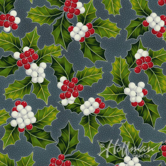 Hoffman Poinsettia Song Q7638-55S Charcoal/Silver