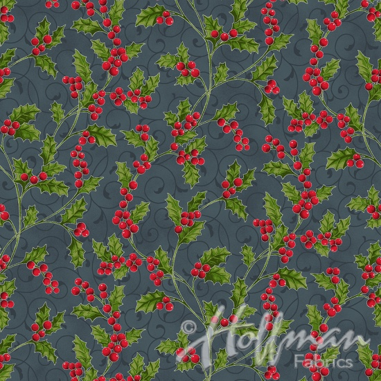 Hoffman Poinsettia Song Q7639-55S Charcoal/Silver