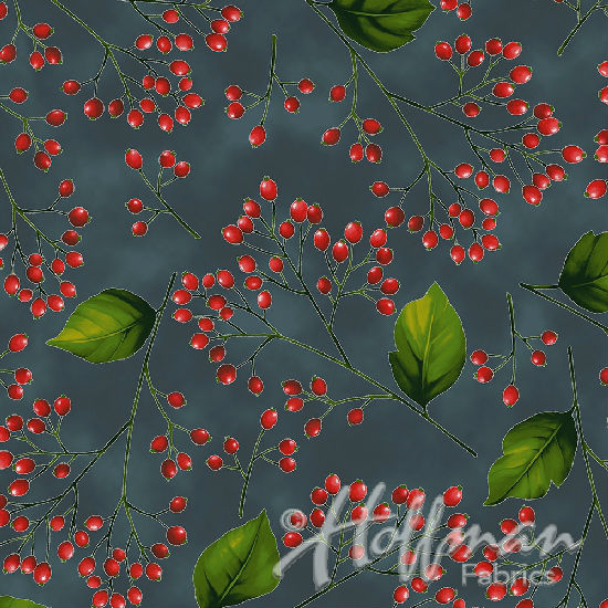 Hoffman Poinsettia Song Q7641-55S Charcoal/Silver