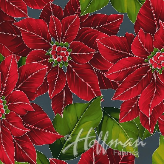 Hoffman Poinsettia Song Q7634-55S Charcoal/Silver