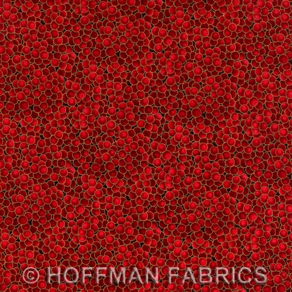Hoffman Berries and Blooms Scarlet/Gold G8556-78G