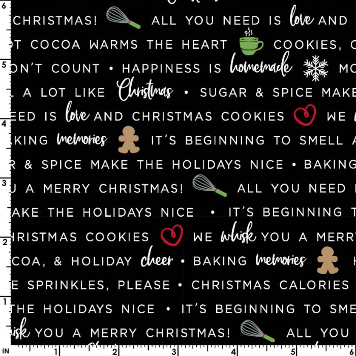 Maywood Studios We Whisk You a Merry Christmas! Holiday Baking Phrases Mas9672-J