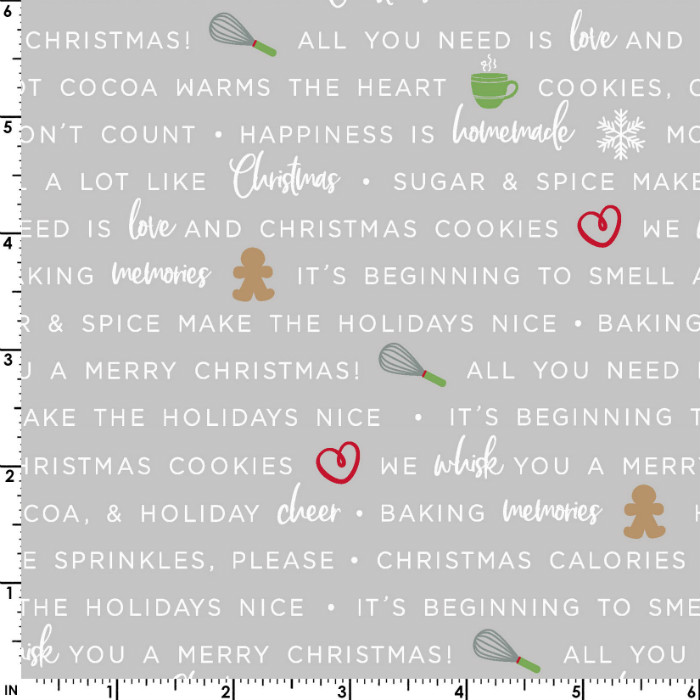 Maywood Studios We Whisk You a Merry Christmas! Holiday Baking Phrases Mas9672-K