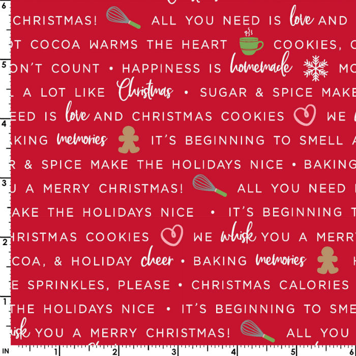 Maywood Studios We Whisk You a Merry Christmas! Holiday Baking Phrases Mas9672-R