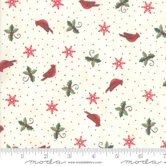 Moda Homegrown Holidays Winter White Cardinals & Greenery 19945-11