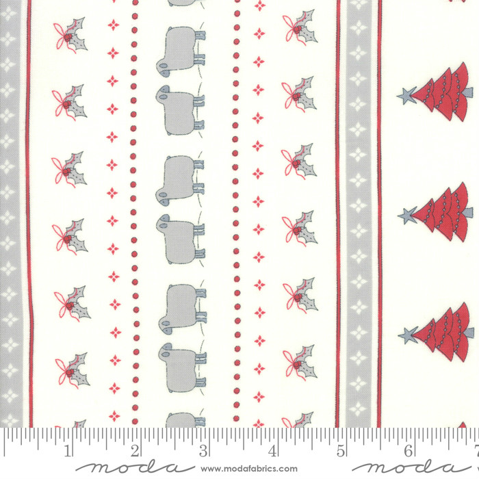 Moda Country Christmas Christmas Stripe Winter White 2960-11