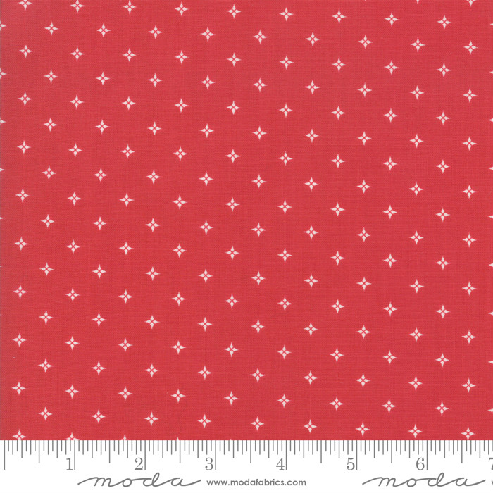 Moda Country Christmas Twinkle Stars Cardinal Red 2964-13