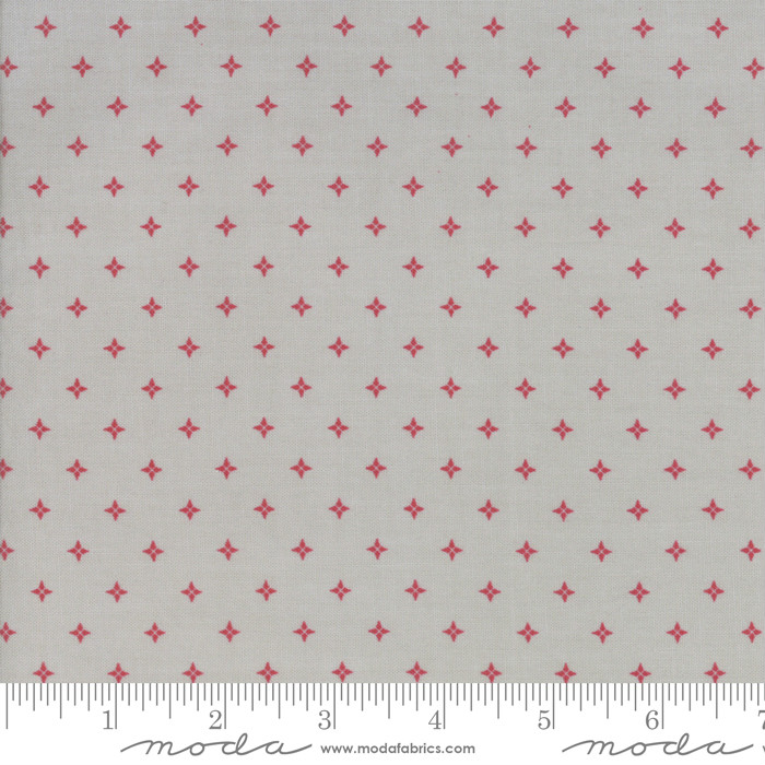 Moda Country Christmas Twinkle Stars Dusty Grey/Red 2964-18