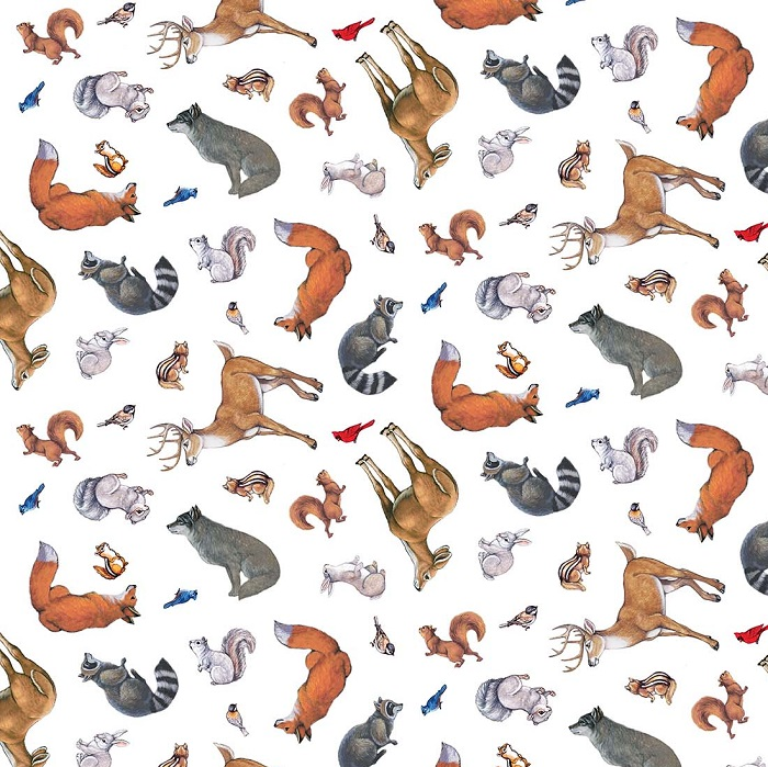 Northcott Woodland Winter Animals 21160-10 White