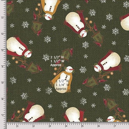 Benartex Winter Wonderland 4651-45 Dark Green Fat Quarter