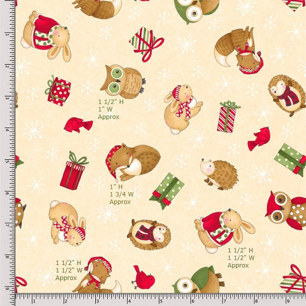 Wilmington Prints Santa and Friends Critter Toss 67546-221 Fat Quarter