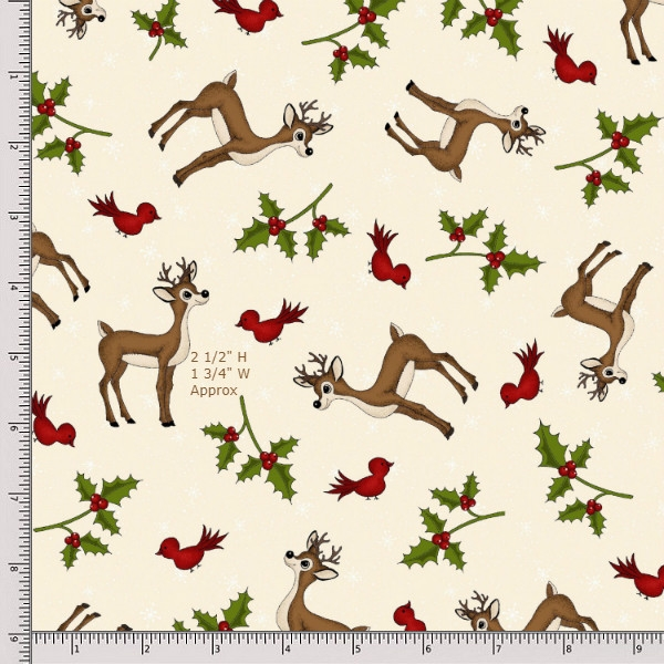 Henry Glass Reindeer Magic 8779-44 Cream Fat Quarter