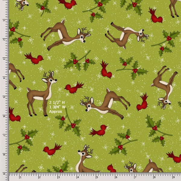 Henry Glass Reindeer Magic 8779-66 Green Fat Quarter