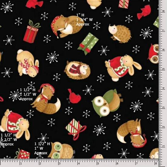 Wilmington Prints Santa and Friends Critter Toss 67546-921 Fat Quarter