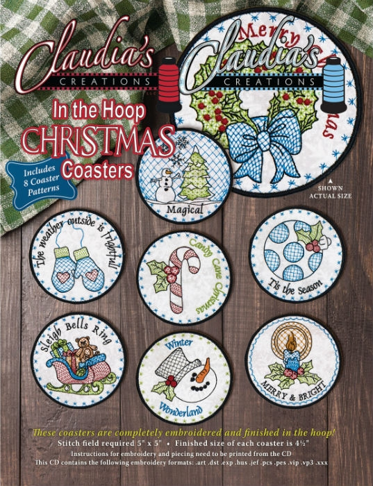 In the Hoop Christmas Coasters CM00208