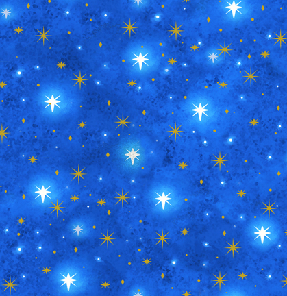 Quilting Treasures Holy Gathering Stars metallic 23304-B Blue.