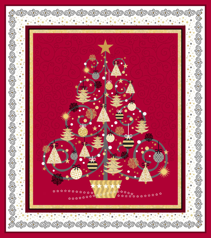 Quilting Treasures All That Glitters Panel 24434-R Red