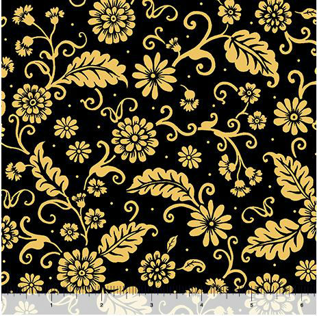 Quilting Treasures Poinsettia Grandeur Filigree 25853J Black