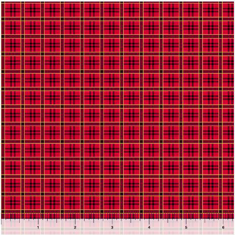 Quilting Treasures Poinsettia Grandeur Plaid 25854R Red
