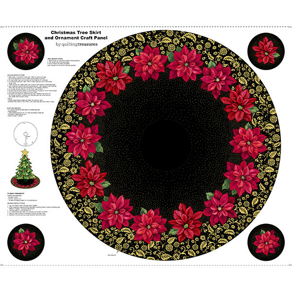 Quilting Treasures Poinsettia Grandeur Tree Skirt Panel 25855J Black